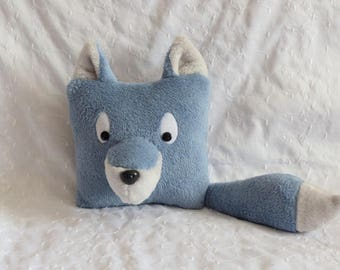 Pillows with ice blue and grey Fox plush
