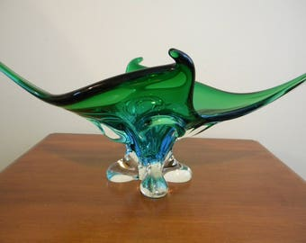 Vtg Green Blue Chalet Lorraine Stretched Art Glass 20""