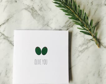 Card 'Olive you' inside blank