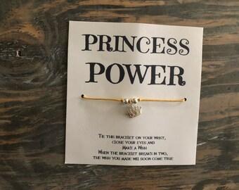 Princess power wish bracelet.Princess wish bracelet. Friendship bracelet.Crown wish bracelet.Girl power.Empowering women jewelry
