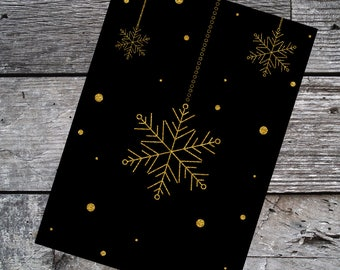 Printable Holiday Card, Black and Gold, Instant Download, Digital File