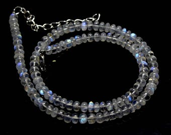 "Natural Rainbow Moonstone Round Beads Strand Necklace. 88 Carats, 16"" Inches Strand, Size- 5 MM Approx Code-HN36"