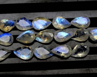 Extra Rare Natural Rainbow Moonstone Blue Flash fire Size 6x9 MM Approx 5 PCs Lot Faceted Pear Code- HR27