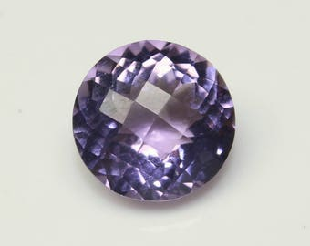 Natural Pink Amethyst Round Faceted Checker Cut Size- 11x11x7 mm Purple Amethyst Code-HA01