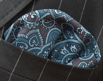 Hankie Pocket Square Handkerchief Black Blue Paisley - Premium Cotton - UK Made