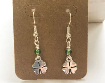 Silver St. Patrick's Day Four Leaf Clover Earrings