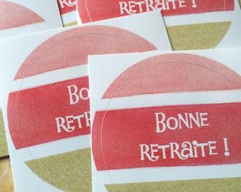 Set of 5 stickers happy retirement