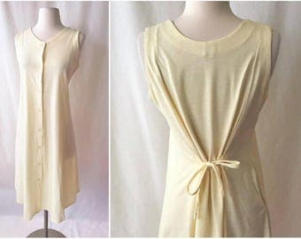 Buttercup Yellow Summer Dress with Pockets | 1980s Casual Sleeveless Dress | Button Front Yellow Dress | Vintage Clothing
