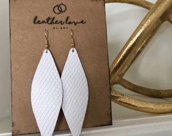 Leather Earrings- White Scales