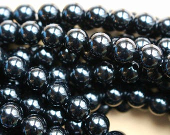 8mm Black Onyx beads, full strand, grade A, natural stone beads, round, 80105