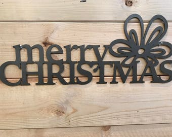 Merry Christmas with a Bow Metal Wall Art