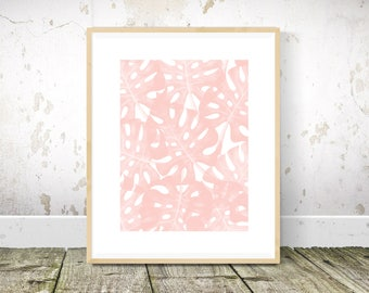 Monstera Print, Tropical Print, Blush Pink Wall Art, Pink Wall Art, Pink Wall Decor, Pink Art, Abstract Art, Printable Wall Art
