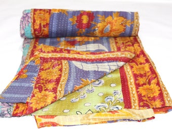 Vintage Reversible Cotton Kantha Quilt Handmade Indian Kantha Quilt Old Kantha Throw Vintage Blanket 58