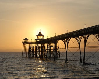 Clevedon Pier at sunset. A4 Mounted