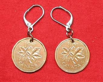 1987 earrings made with real under Canadian 1987