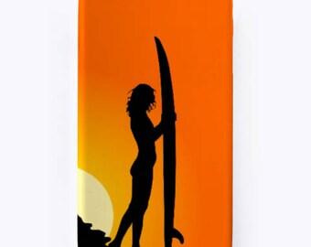 Surf girl phone case