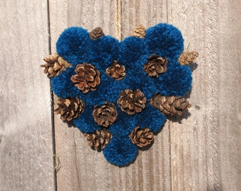 Small Hanging Heart,  Petrol Peacock Blue, pinecones, pompoms
