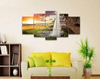 Proverbs 3:5-6 #37 NIV Trust in the Lord Bible Verse Canvas | Christian Canvas | Scripture | Religious | Wall Art | Home Decor Paintings