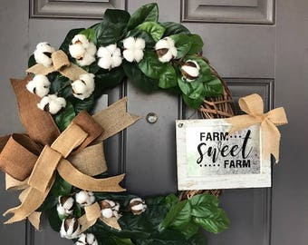 Farm House Vintage Rustic Cotton Burlap Grapevine Kats Creations Wreath