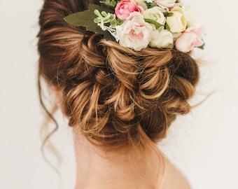 Bridal Hair, Bridal Hair Comb, Wedding Hair Comb, Bridal Flower headpiece, Bridesmaid headpiece, Wedding headpiece,  Pink silk flower