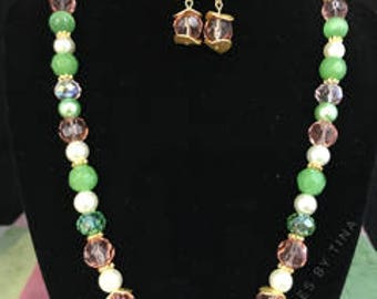 Pink and Green Beaded Necklace & Dangle Earrings