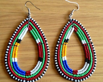 African Maasai Beaded Dangle Earrings | Tribal earrings | Ethnic jewelry | Round Earrings | African Jewelry | Gift for Her