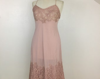 Vintage Dusty Rose Pink Lace Slip Women's Small Vintage Lingerie