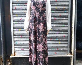 VINTAGR 1970s Americana Prarie Festival Floral Maxi Dress UK8