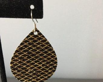 Teardrop Earring- textured gold black