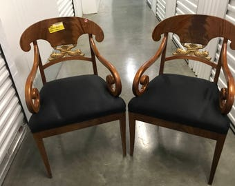 Pair of French Empire Decorative Mahogany Arm Chairs with Dragon Back Motif