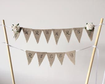 Personalised wedding cake topper . Mr & Mrs cake topper . Cake bunting . Rustic cake topper . Linen mini bunting