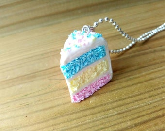 Pastel Colours Layer Cake Necklace, Miniature Food, Food Jewelry, Easter, Kawaii, Gift, Progress Keeper, Stitch Markers