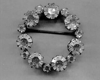 Clear Rhinestone Circle Pin