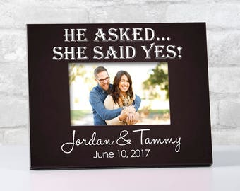 Personalized Engagement Picture Frame, He Asked, She Said Yes, Newly Engaged Gift for Couple, Engagement Gift for Christmas