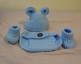 Bear Baby Hat, Diaper Cover, and Booties