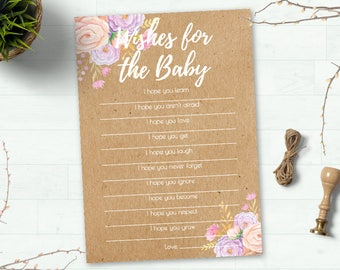 Wishes for Baby Card, Baby Shower Games, Baby Shower Advice Card, Girl Baby Shower, Floral Baby Shower, Rustic Shower, Boho Shower Printable