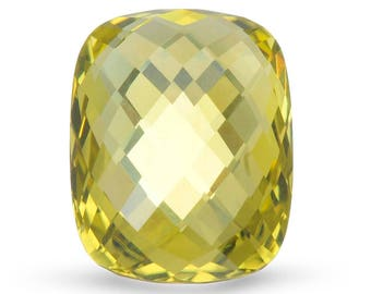 Natural Checkerboard Cut 20x15mm Greenish Yellow Quartz . Approximately 19.23 Carats.