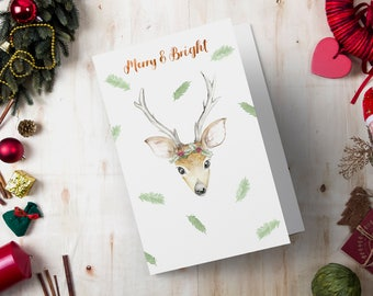Printable Christmas Holiday Greeting Card - Watercolor Deer Painting - Digital Print Instant Download, Cute Xmas Card, Woodland