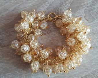 Golden bracelet and earrings