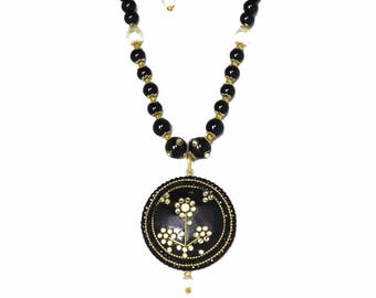 Embellished Circle Statement Necklace and Earring set With Pearls