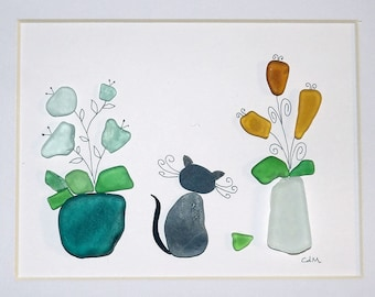 Cat with glass vases
