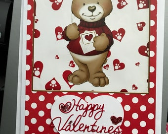 Cute smiley teddy bear Valentines card valentines day A5