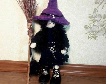 Little Witch Crochet doll with wire fram in filming clothes  Interior  doll  Amigurumi doll  Gift for friend  Gift for her Gift