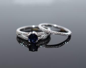 Bridal Sapphire Diamond Set, Wedding Sapphire Diamond Set, Sapphire Engagement Ring, Gold Bridal Set, White Gold Wedding Set, Gift for Mom