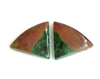 Chrysocolla Fancy Pair Cabochon,Size- 15x13 MM, Natural Chrysocolla, AAA,Quality  Loose Gemstone, Smooth Cabochons.