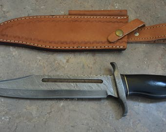 Damascus Steel Hunting Bowie with Micarta Handle R 01
