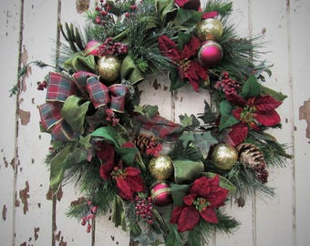 Ready to Ship - Holiday Wreath with Burgundy Poinsettias, Burgundy and Gold Holiday Decor adorned with Green and Burgundy Plaid Bow