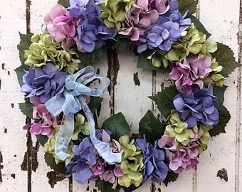 Everyday Hydrangea Wreath with lovely colors such as Dusty lavender, Mauve/Pink, Light Green and a Sheer French Blue Bow - Ready to Ship