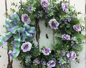 Lovely Lavender Wreath with Cream/Lavender Mini Roses,Green/Lavender Hydrangeas, Eucalyptus and a Green and Lavender Checkered Bow