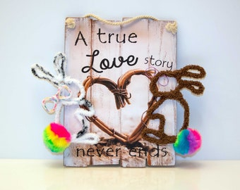 """HOT inspired by John Oliver # Marlon Bundo bunny # LGBTQ #pride """"A true love story never ends"""" message picture with 2 bunnies"""